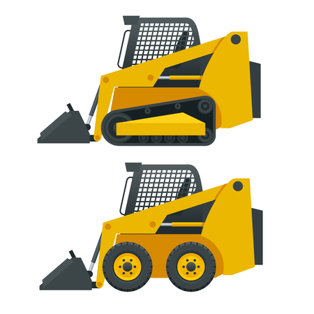 Compact Excavators. Steer Loader side view isolated on a white