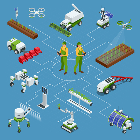Set isometrico di robot industriali intelligenti iot 4.0, robot in agricoltura Vettoriali