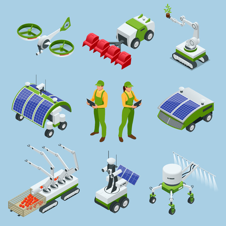 Set isometrico di robot industriali intelligenti iot 4.0, robot in agricoltura, robot agricoli, serra robot.