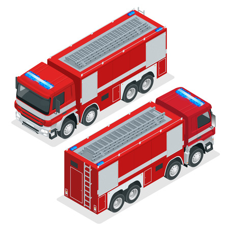 Isometric Red fire truck, vehicle of Emergency. Firefighters design element. Vector Illustration on a white background Иллюстрация