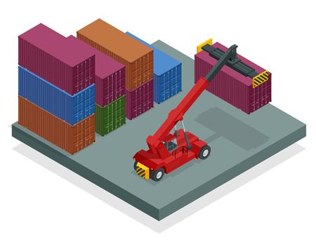 Isometrischer mobiler Containerhandler im Einsatz auf einem Containerterminal. Kran hebt Container-Handler Isolierte Vektor-Illustration.