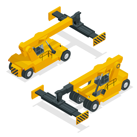 Isometric Mobile Container Handler in action at a container terminal. Crane lifts container handler Isolated vector illustration.