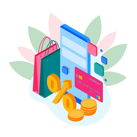 Isometric shopping store on a smartphone. Online shopping concept. Online store, shopping cart icon. Ecommerce.