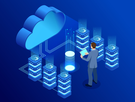 Isometric modern cloud technology and networking concept.