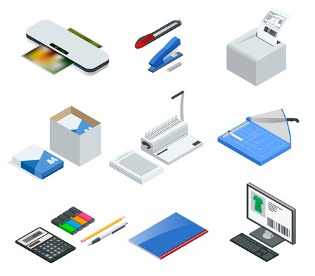 Isometric set of office tools. Vector icons illustration stapler, laminator, binder, office knife, multifunctional office printer, office cutter. Stock Illustratie