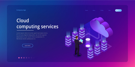 Web page design templates Cloud Computing concept. Isometric cloud services. Internet technology. Online services. Data, information security. Vector illustration