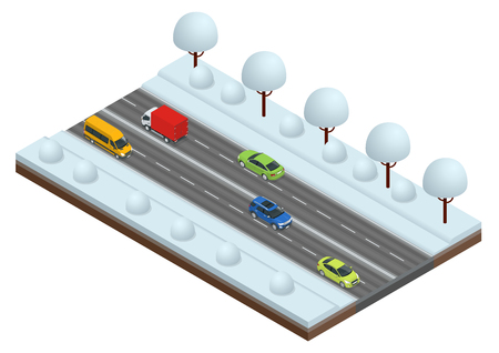 Isometric Winter Driving and road safety. The car rides on a slippery road. Cars on winter busy road vector illustration.