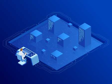 Isometric server room in datacenter. Administrator Monitors Work of Artificial Intelligence. Professional IT Engineers Working in System Control Center