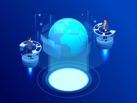 Concept de réseau mondial isométrique. Réseau mondial planète Terre. L'administrateur surveille le travail de l'intelligence artificielle. Ingénieurs informatiques professionnels travaillant dans le centre de contrôle du système Vecteurs
