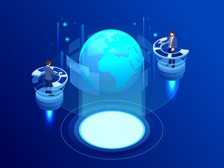Isometric Global network concept. Global network planet Earth. Administrator Monitors Work of Artificial Intelligence. Professional IT Engineers Working in System Control Center Vecteurs