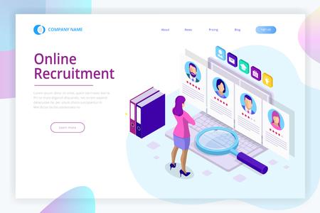 Recherche d'emploi en ligne isométrique et ressources humaines, concept de recrutement. Nous recrutons. Présentation pour l'emploi et infographie pour le recrutement. Modèle de site Web Page de destination Vecteurs