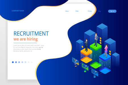 Isometric online job search and human resource, recruitment concept. We are hiring. Presentation for employment and infographics for recruiting. Template website Landing page