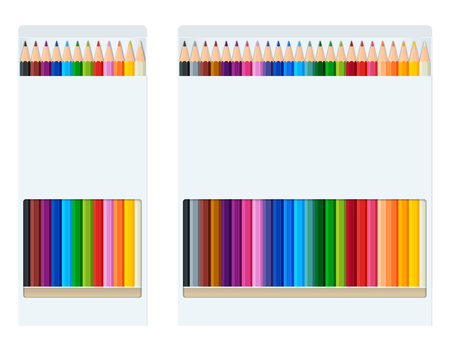 Realistic style sharpened coloured crayons or pencil colors rainbow style isolate on white background. Set of vector illustrations.
