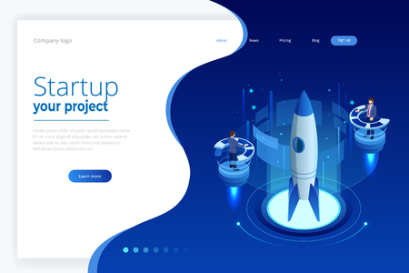 Isometric Business Start Up for web page, banner, presentation, social media concept landing page design.
