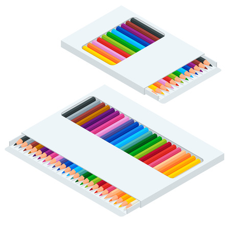 Isometric coloured crayons or pencil colors rainbow style isolate on white background. Set of vector illustrations  イラスト・ベクター素材