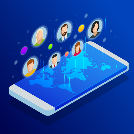 Social media network. People connecting all over the world. People leaving comments and likes for posts. Vector illustration. 矢量图像