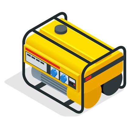 Generador de gasolina amarillo isométrico.