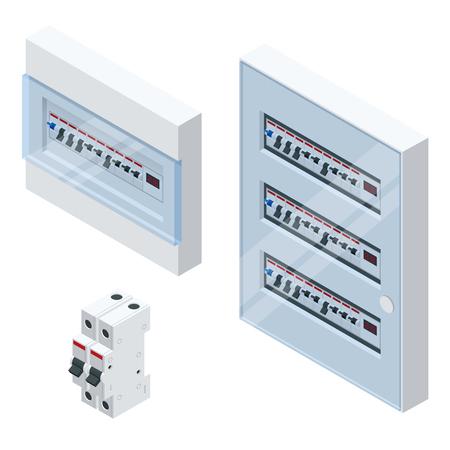 Isometrische Schalttafel mit Sicherungen und Kontaktgebern. Sicherungsautomaten, isoliert auf weißem Hintergrund. Elektrische Sicherung