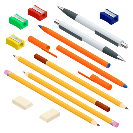 Isometric set of colored engineering and office pens, sharpened pencils of various lengths with rubber and without, eraser rubber and sharpener. Vector illustration