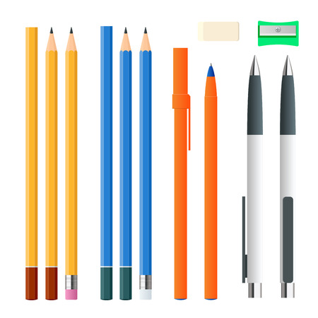 Isometric set of colored engineering and office pens, sharpened pencils of various lengths with rubber and without and sharpener. Vector illustration