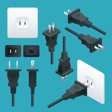 Set od Plugs and Sockets Type A. Used in North and Central America, Japan, Bahamas, BritishVirgin Islands, China, Colombia, among others. View front and isometric. Vector illustration.
