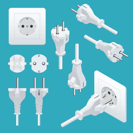 Set od Plugs and Sockets Type F. Used in Germany, Austria, the Netherlands and Spain among others. View front and isometric. Vector illustration.