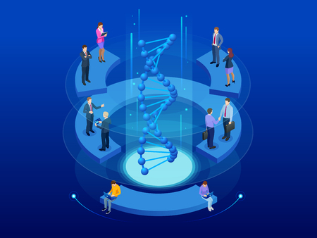 Isometric DNA helix, DNA Analysing concept. Digital blue background. Innovation, medicine, and technology Illustration