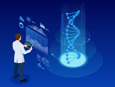 Isometric DNA helix, DNA Analysing concept. Digital blue background. Innovation, medicine, and technology