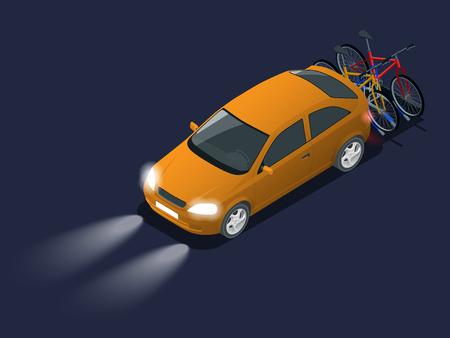 Autoscheinwerfer in der Dunkelheit. Isometrische Fahrräder, die auf der Rückseite eines Verbots geladen werden. Auto und Fahrräder