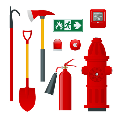Fire safety and protection. Flat icons extinguisher, hose, flame, hydrant, protective helmet, alarm, axe, shovel, conical bucket and exit sign. Vector illustration Illusztráció