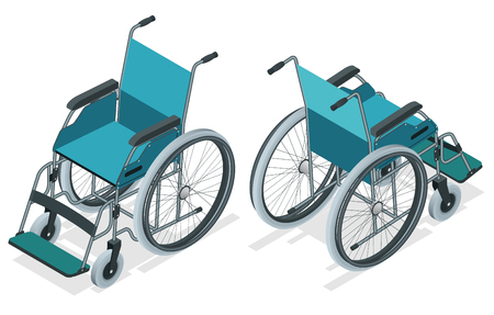 Isometric Wheelchair isolated. Chair with wheels, used when walking is difficult or impossible due to illness, injury, or disability. Medical support equipment.
