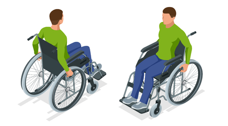 Isometric man in a wheelchair using a ramp isolated. Chair with wheels, used when walking is difficult or impossible due to illness, injury, or disability. Medical support equipment.