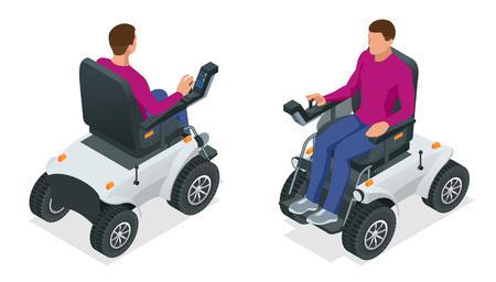 Homme isométrique sur un fauteuil roulant électrique. Nouveau grand fauteuil roulant électrique motorisé. Trottinette mobile