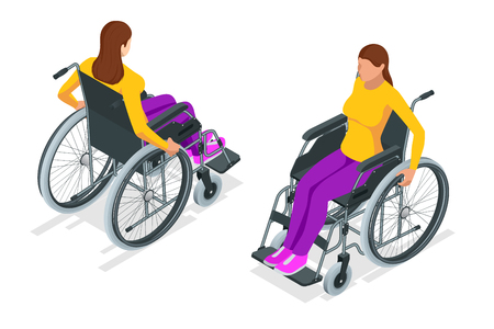 Isometric woman in a wheelchair using a ramp isolated. Chair with wheels, used when walking is difficult or impossible due to illness, injury, or disability. Medical support equipment.