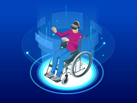 Isometric man in a wheelchair using a ramp and man wearing virtual reality goggles isolated. Chair with wheels, used when walking is difficult or impossible due to illness, injury, or disability.