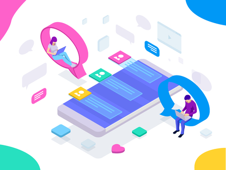 Isometric concept of social media network, digital communication, chatting. Online chat man and woman app icons. Chat messages notification on smartphone Ilustração