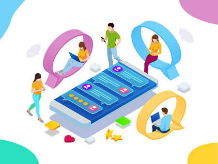 Isometric concept of social media network, digital communication, chatting. Online chat man and woman app icons. Chat messages notification on smartphone Vetores