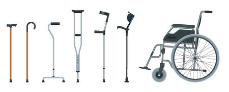 Zestaw pomocy do poruszania się, w tym wózek inwalidzki, chodzik, kule, laska czworokątna i kule na przedramiona. Płaska ilustracja. Koncepcja opieki zdrowotnej