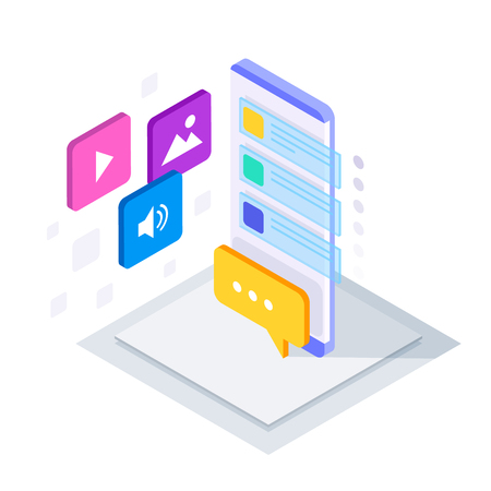 Isometric Social Media Bot, messenger Chat Bot, auto-reply software concept. Business, technology, internet, and networking concept. Vector illustration Vector Illustration