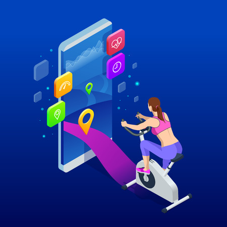 Isometric fit woman training at home on exercise stationary bike during workout holding phone. Female health weekly habits app. Vector illustration