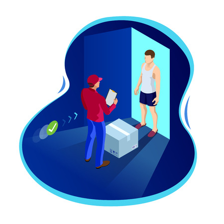 Express home delivery. Courier gives the man a box. Shopping online. Free shipping, 24 hour delivery. Flat vector isometric illustration