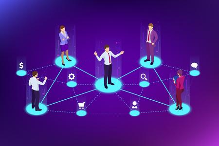 Marketing de référence isométrique, marketing de réseau, stratégie de programme de référence, amis de référence, partenariat commercial, concept de marketing d'affiliation. Modèle de page de destination. Vecteurs