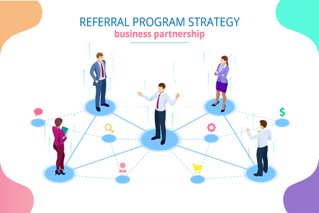 Isometrische verwijzingsmarketing, netwerkmarketing, strategie voor verwijzingsprogramma's, doorverwijzende vrienden, zakelijk partnerschap, affiliate marketingconcept.