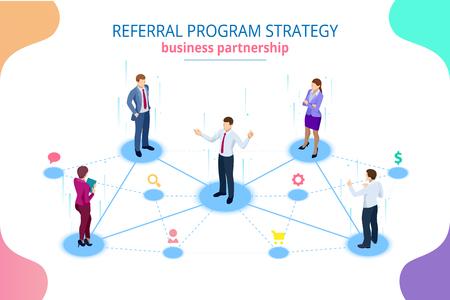 Marketing de référence isométrique, marketing de réseau, stratégie de programme de référence, amis de référence, partenariat commercial, concept de marketing d'affiliation.