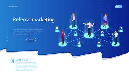 Isometric Referral marketing, network marketing, referral program strategy, referring friends, business partnership, affiliate marketing concept. Landing page template. Ilustracja