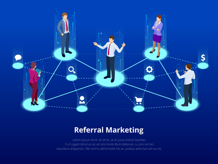 Isometric Referral marketing, network marketing, referral program strategy, referring friends, business partnership, affiliate marketing concept. Landing page template.