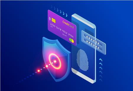Isometrische bescherming netwerkbeveiliging en veilig uw gegevensconcept. Ontwerpsjablonen voor webpagina's Cyberbeveiliging. Digitale misdaad door een anonieme hacker. vector illustratie Vector Illustratie