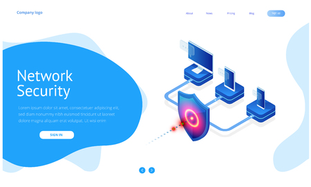 Isometric Protection network security and safe your data concept. Web page design templates Cybersecurity. Digital crime by an anonymous hacker. Vector illustration. 版權商用圖片 - 125810970