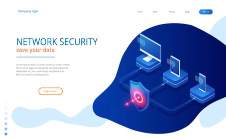 La sécurité du réseau de protection isométrique et la sécurité de votre concept de données. Modèles de conception de pages Web Cybersécurité. Crime numérique par un pirate anonyme. Illustration vectorielle.
