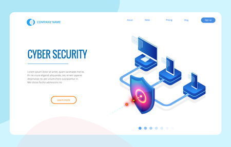 Isometric Protection network security and safe your data concept. Web page design templates Cybersecurity. Digital crime by an anonymous hacker. Vector illustration